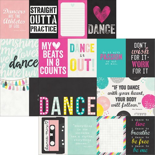 Simple Stories - Dance Collection - 12 x 12 Double Sided Paper - 3 x 4 and 4 x 6 Journaling Card Elements