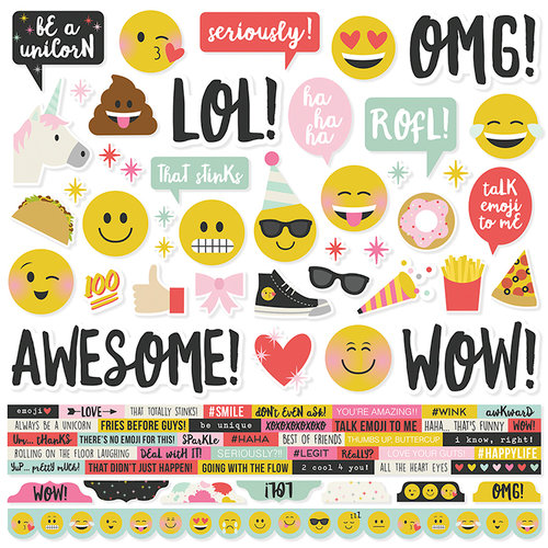 Simple Stories - Emoji Love Collection - 12 x 12 Cardstock Stickers - Combo