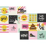 Simple Stories - Emoji Love Collection - 12 x 12 Double Sided Paper - 4 x 4 Elements
