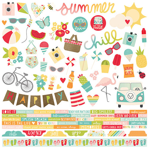 Simple Stories - Summer Days Collection - 12 x 12 Cardstock Stickers - Combo