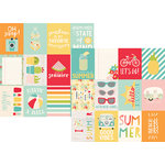Simple Stories - Summer Days Collection - 12 x 12 Double Sided Paper - 3 x 4 Journaling Card Elements