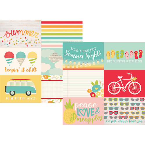 Simple Stories - Summer Days Collection - 12 x 12 Double Sided Paper - 4 x 6 Horizontal Elements