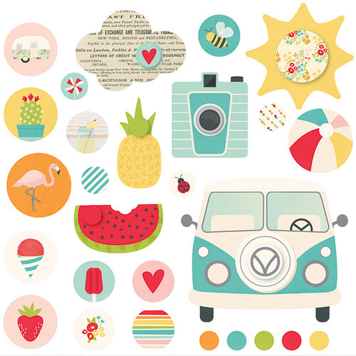 Simple Stories - Summer Days Collection - Decorative Brads