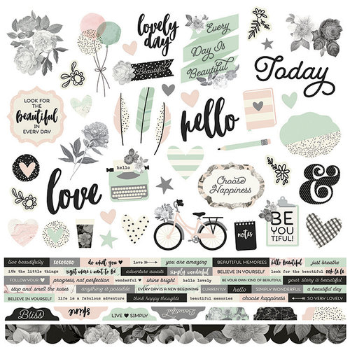 Simple Stories - Beautiful Collection - 12 x 12 Cardstock Stickers - Combo