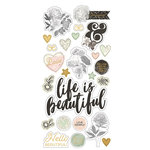 Simple Stories - Beautiful Collection - Chipboard Stickers with Foil Accents