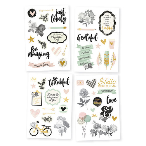 Simple Stories - Beautiful Collection - Cardstock Stickers with Foil Accents