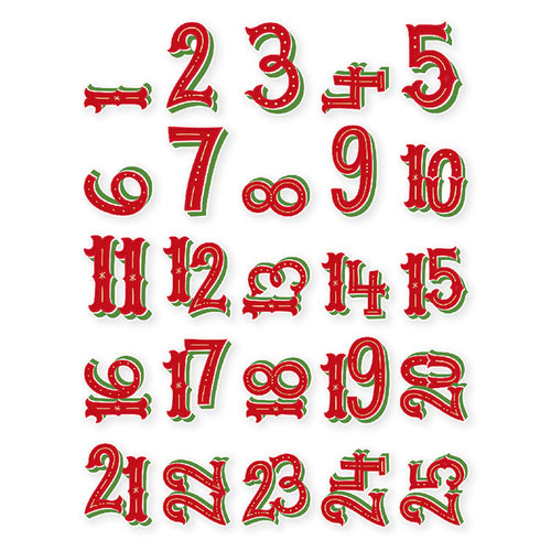 Simple Stories - Very Merry Collection - Christmas - Pocket Pieces - Numbers