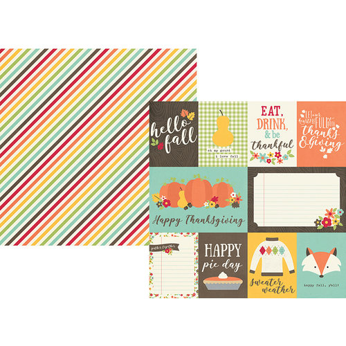 Simple Stories - Happy Harvest Collection - Simple Sets - 12 x 12 Double Sided Paper - 3 x 4 and 4 x 6 Journaling Card Elements