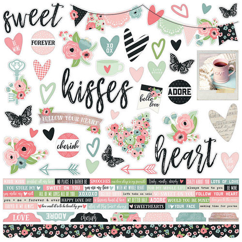 Simple Stories - Romance Collection - 12 x 12 Cardstock Stickers - Combo