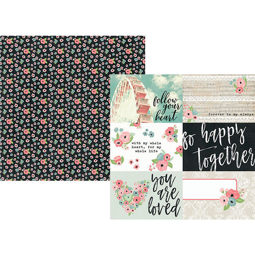 Simple Stories - Romance Collection - 12 x 12 Double Sided Paper - 4 x 6 Horizontal Elements