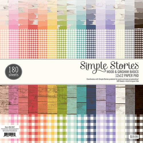Simple Stories - 12 x 12 Paper Pad - Wood and Gingham Basics
