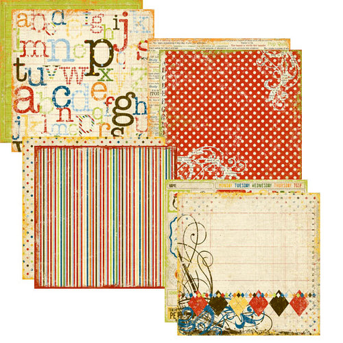 Memory Works - Simple Stories - Elementary Collection - 12 x 12 Designer Cardstock Pack, BRAND NEW