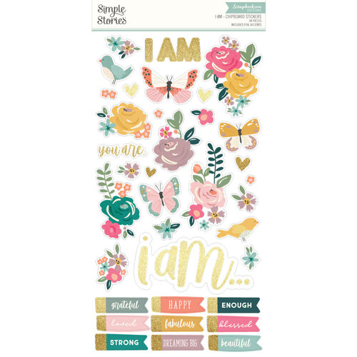 Simple Stories - I Am Collection - Chipboard Stickers with Foil Accents
