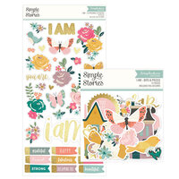 Simple Stories - I Am Collection - Bits and Pieces Ephemera and Chipboard Stickers with Foil Accents Bundle