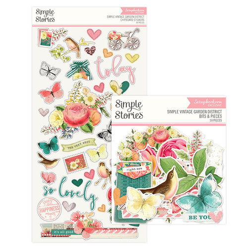 Simple Stories - Simple Vintage Garden District Collection - Bits and Pieces Ephemera and Chipboard Stickers Bundle