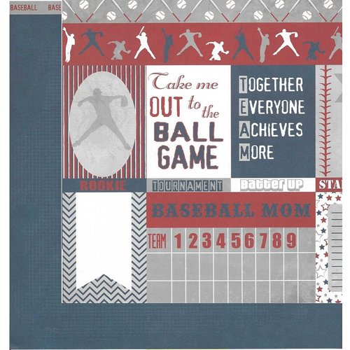 Moxxie - All Star Baseball Collection - 12 x 12 Double Sided Paper - All Star Cutouts