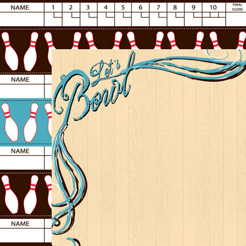 Moxxie - Bowler Up Collection - 12 x 12 Double Sided Paper - Let's Bowl