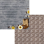 Moxxie - Country Chic Collection - 12 x 12 Double Sided Paper - Leather and Lace