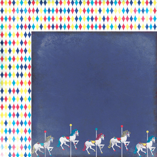 Moxxie - Midway Madness Collection - 12 x 12 Double Sided Paper - Carousel