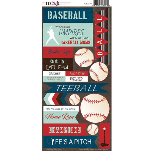 Moxxie - Play Ball Collection - Cardstock Stickers - Baseball