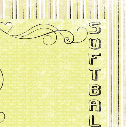 Moxxie - Curve Ball Collection - 12 x 12 Double Sided Paper - I Heart Softball