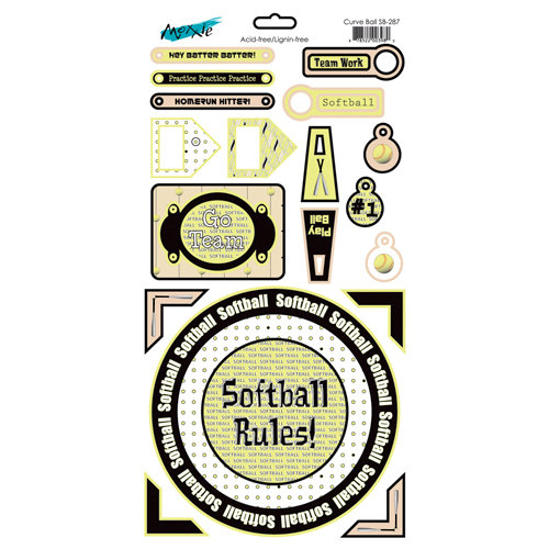 Moxxie - Curve Ball Collection - Cardstock Stickers - Elements