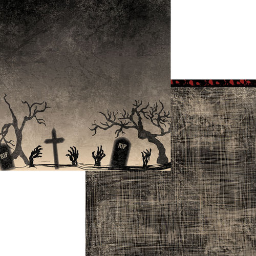 Moxxie - Zombie Attack Collection - 12 x 12 Double Sided Paper - Hallowed Ground