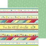 Nikki Sivils - My Lil' Monster Collection - 12 x 12 Double Sided Paper - Monster Border Strips