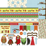 Nikki Sivils - You're A Hoot Collection - 12 x 12 Double Sided Paper - Hoot Border Strips and Cut Ups