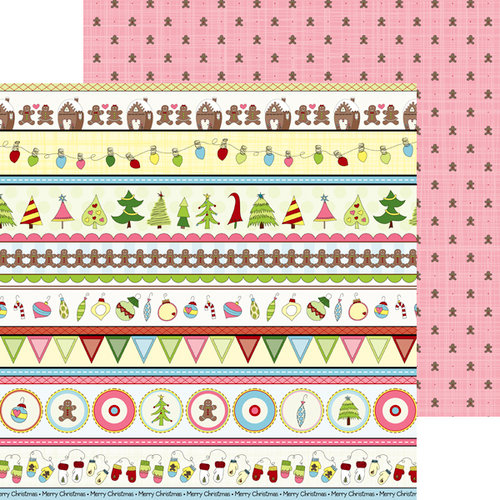 Nikki Sivils - Gingerbread Land Collection - Christmas - 12 x 12 Double Sided Paper - Gingerbread Border Strips