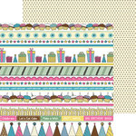 Nikki Sivils - Its Your Day Collection - 12 x 12 Double Sided Paper - Birthday Border Strips