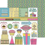 Nikki Sivils - Its Your Day Collection - 12 x 12 Double Sided Paper - Birthday Cut Ups