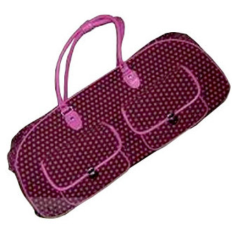 CGull - Provo Craft - Cricut Expression - Canvas Rolling Tote - Brown and Pink Polka Dot