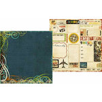 Memory Works - Simple Stories - Destinations Collection - 12 x 12 Double Sided Paper - Travel Notes