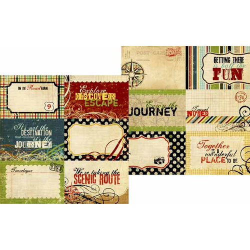 Memory Works - Simple Stories - Destinations Collection - 12 x 12 Double Sided Paper - Journaling Card Elements 1