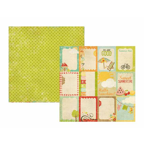 Memory Works - Simple Stories - 100 Days of Summer Collection - 12 x 12 Double Sided Paper - Flash Cards