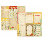Memory Works - Simple Stories - 100 Days of Summer Collection - 12 x 12 Double Sided Paper - Journaling Card Elements