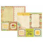 Memory Works - Simple Stories - 100 Days of Summer Collection - 12 x 12 Double Sided Paper - Quote and Photo Mat Elements