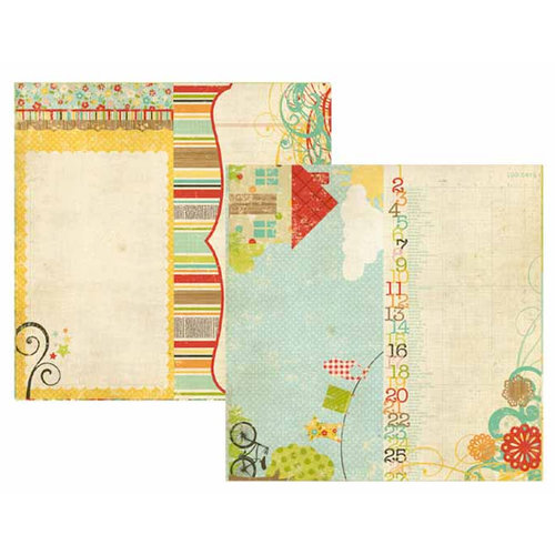 Memory Works - Simple Stories - 100 Days of Summer Collection - 12 x 12 Double Sided Paper - Page Elements