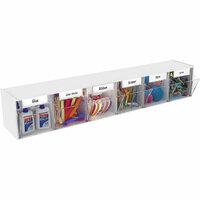 Deflecto - White Interlocking Craft Storage Tilt Bin - 6 Bins