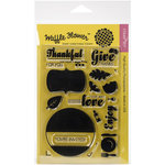 Waffle Flower Crafts - Clear Acrylic Stamps - Holiday Labels - Give Thanks