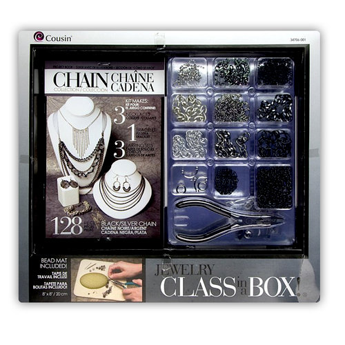 Cousin - Chain Collection - Jewelry - Class in a Box - Black and Silver Chains