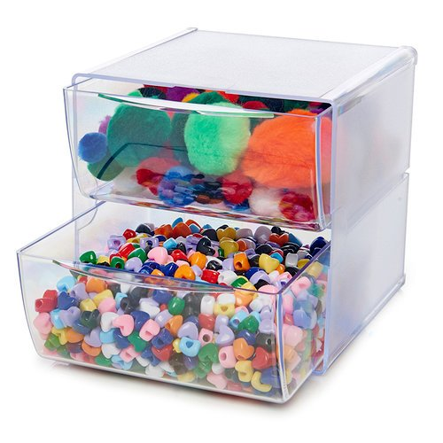 Deflecto - Stackable 2 Drawer Cube Storage Organizer