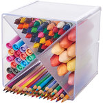 Deflecto - Stackable X Divided Clear Storage Organizer - 6 x 6