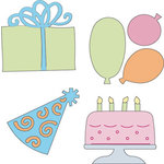 Provo Craft - Cuttlebug - Die Cut Set - 4 Die Cuts - Birthday, CLEARANCE