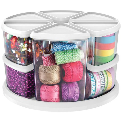 Deflecto - Rotating Organizer - White - for Ribbons, beads, thread and more!