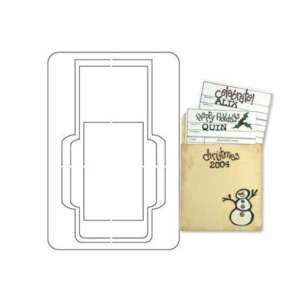 Provo Craft - Coluzzle - Clear Plastic Cutting Template - Library Pocket Set With Stamp and Clear Block