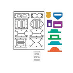 Provo Craft - Coluzzle - Clear Plastic Cutting Template - Tabs Set With 4 Stamps and Clear Block