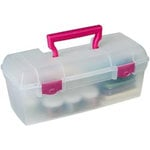 Art Bin - Essentials - Lift-Out Tray Box - Clear and Raspberry