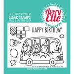 Avery Elle - Clear Acrylic Stamps - Birthday Bus